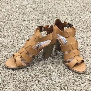 Shoes - Cognac Tan Gladiator Heels Size 7.5